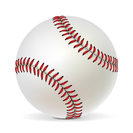 Balle de baseball isolée sur fond blanc.