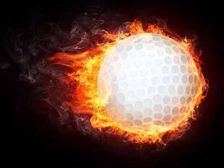 Golf Ball on Fire. Gráficos 2D. Diseño de equipo.  Foto de archivo