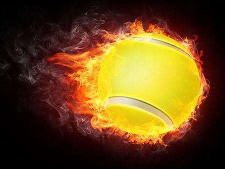 Tennis Ball on Fire. 2D Graphics. Computer Design. Stock Photo