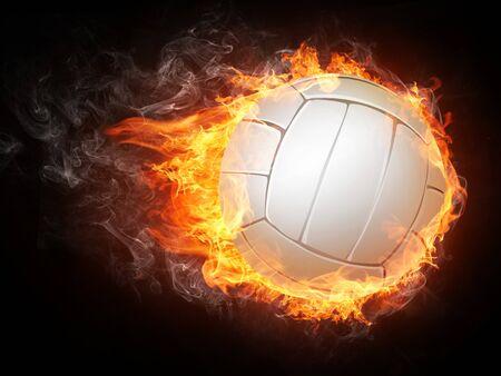 infierno: Ball de voleibol sobre fondo blanco.