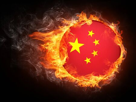 China Flag in Fire. Computer Graphics. Stock Photo