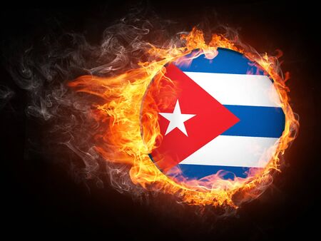 cuba flag: Republic of South Africa Flag in Fire. Computer Graphics.