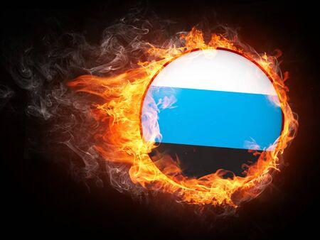 火災でエストニアの旗。コンピュータ グラフィックス。