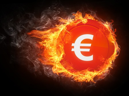 Sign Euro in Fire. Computer Graphics.