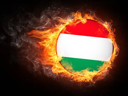Hungary Flag in Fire. Computer Graphics.