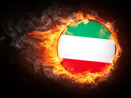 Iran Flag in Fire. Computer Graphics. 스톡 콘텐츠