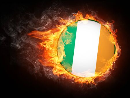 Ireland Flag in Fire. Computer Graphics. Stock Photo