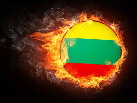 Lithuania Flag in Fire. Computer Graphics.