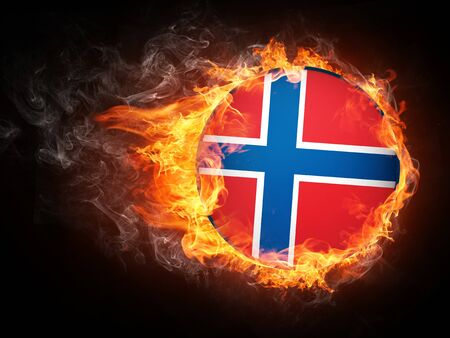 norway flag: Norway Flag in Fire. Computer Graphics. Stock Photo