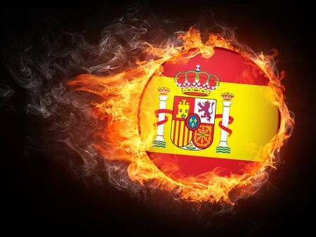 Spain Flag in Fire. Computer Graphics.