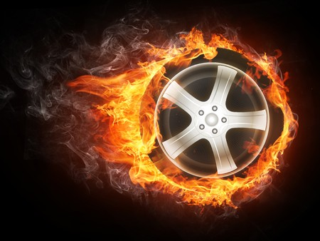 burning: Car Wheel in Fier. Computer Design.