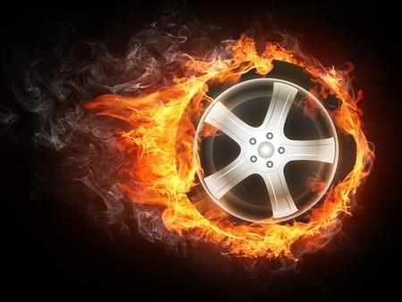 single track: Car Wheel in Fier. Computer Design.
