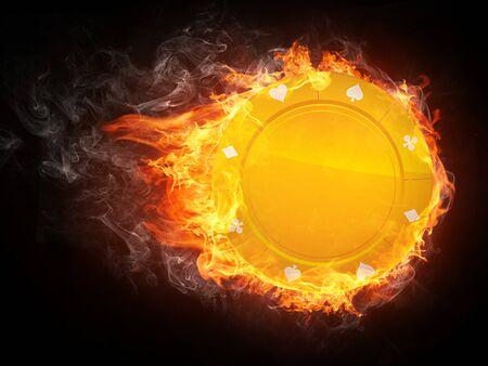 Casino Chip in Fire. Computer Graphics. photo