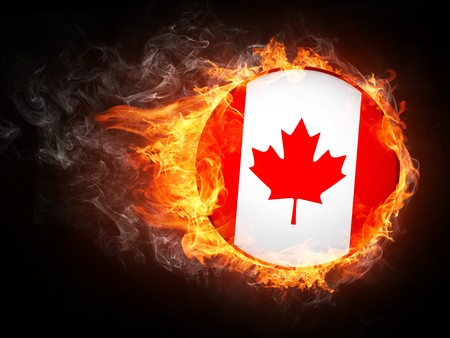 canadian flag: Canada Flag in Fire. Computer Graphics.