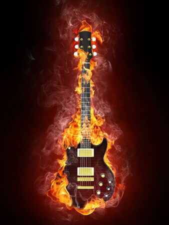 lit image: Electric Guitar in fire Isolated on Black Background. Computer Graphics. Stock Photo