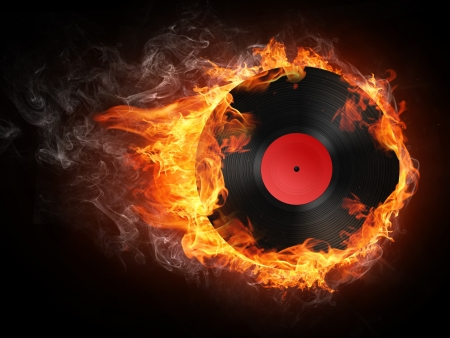 Record in Fire. Computer Graphics. Design Element. Imagens