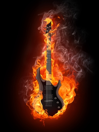 Electric Guitar in fire Isolated on Black Background. Computer Graphics. Stok Fotoğraf