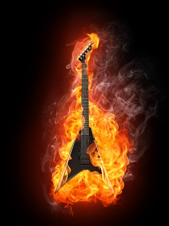 burning: Electric Guitar in fire Isolated on Black Background. Computer Graphics. Stock Photo