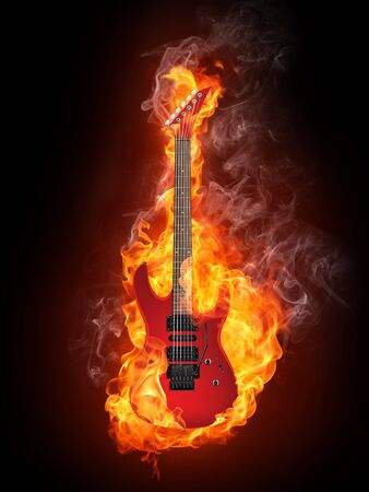 hardrock: Electric Guitar in fire Isolated on Black Background. Computer Graphics. Stock Photo