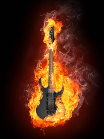 acoustic: Electric Guitar in fire Isolated on Black Background. Computer Graphics. Stock Photo