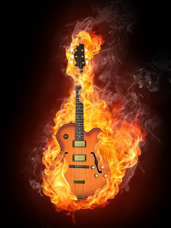 jazz guitar: Electric Guitar in fire Isolated on Black Background. Computer Graphics. Stock Photo