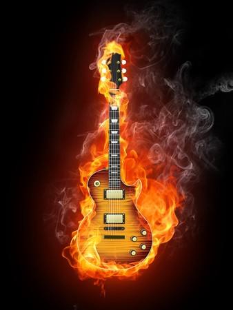 Chitarra nel fuoco isolata su sfondo nero. Computer Graphics.  Archivio Fotografico