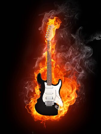 fender: Electric Guitar in fire Isolated on Black Background. Computer Graphics. Stock Photo