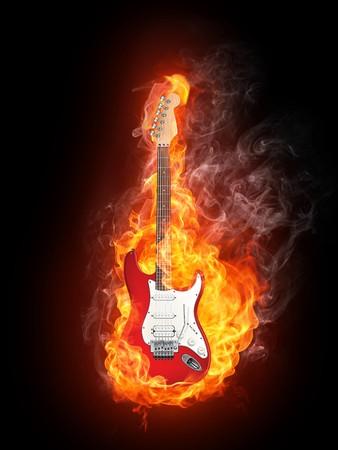 エレク トリック ギター火災、黒の背景に分離されました。コンピュータ グラフィックス。
