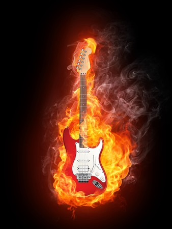 Electric Guitar in fire Isolated on Black Background. Computer Graphics. Stock Photo