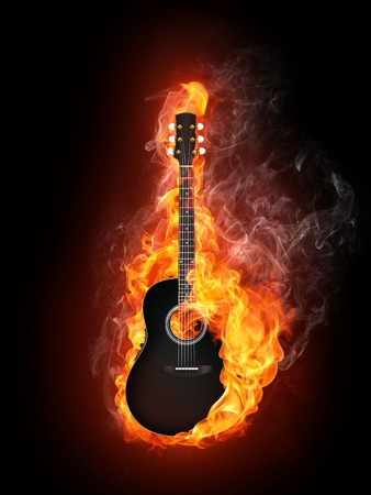 Acoustic - Electric Guitar in Fire Flame Isolated on Black Background Stock Photo