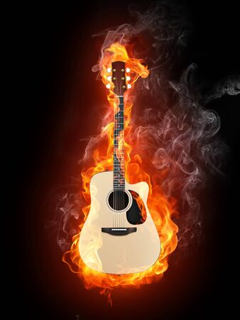 Acoustic Guitar in Fire Flame Isolated on Black Background Imagens