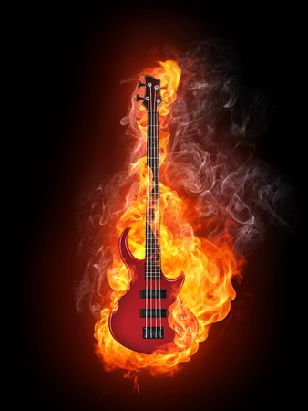 hardrock: Electric Bass Guitar in fire Isolated on Black Background. Computer Graphics.