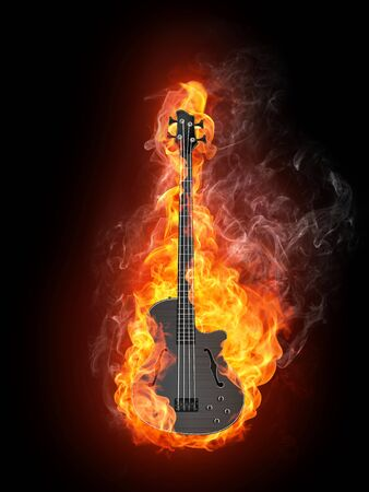 Electric Bass Guitar in fire Isolated on Black Background. Computer Graphics. photo