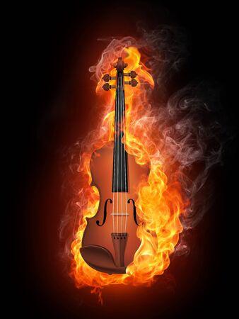 검은 배경에 고립 된 불에서 바이올린 스톡 콘텐츠