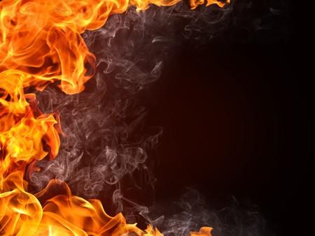 hintergr�nde: Feuer Hintergrund. Feuer isoliert auf schwarz. Lizenzfreie Bilder