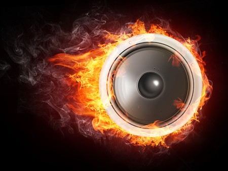 Loudspeaker on Fire Isolated on Black Background. 2D graphics, computer designe photo