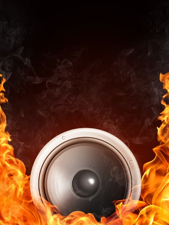 loudspeaker: Loudspeaker on Fire and Water Isolated on Black Background. 2D graphics, computer designe Stock Photo