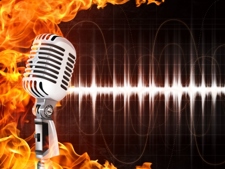 Old Microphone on Fire Background. Computer Graphics.