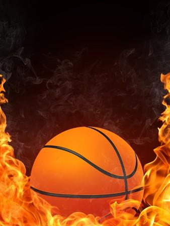 Basketball Ball on Fire. 2D Graphics. Computer Design. photo
