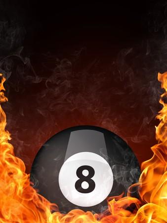 Piscina biliardo Ball nel fuoco. Computer Graphics.  Archivio Fotografico