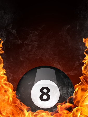 eight ball: Pool Billiards Ball in Fire. Computer Graphics. Stock Photo