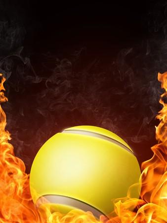 backhand: Tennis Ball on Fire. 2D Graphics. Computer Design. Stock Photo