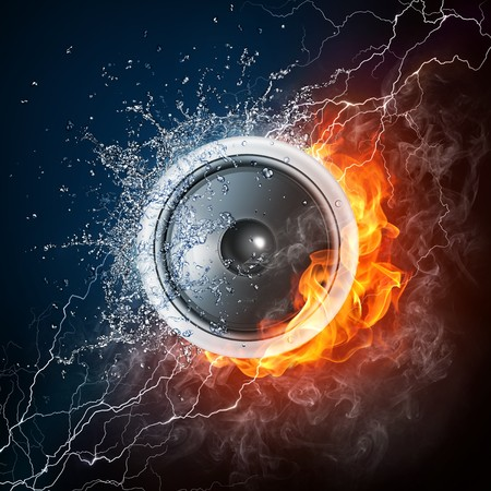 designe: Loudspeaker on Fire and Water Isolated on Black Background. 2D graphics, computer designe Stock Photo