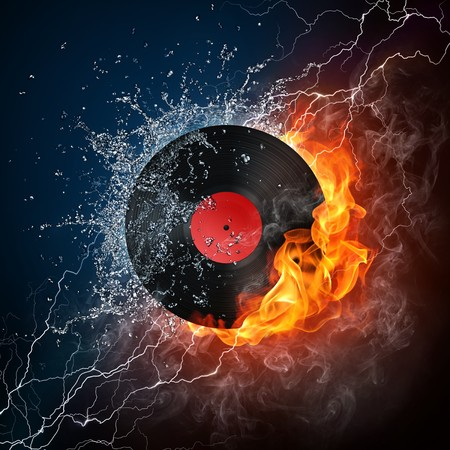 disk jockey: Record in Fire. Computer Graphics. Design Element. Stock Photo