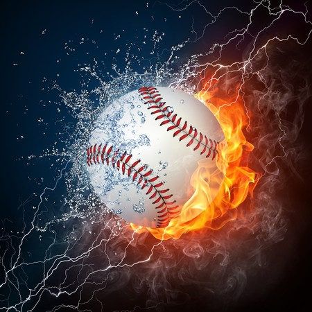 Baseball Ball on Fire and Water. 2D Graphics. Computer Design. photo