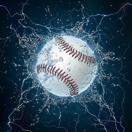 Baseball Ball on Water. 2D Graphics. Computer Design. photo