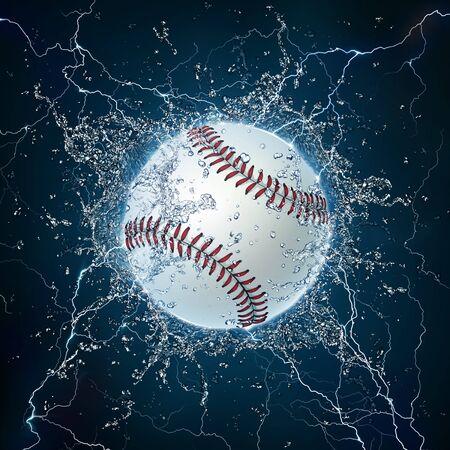 softball: Baseball Ball on Water. 2D Graphics. Computer Design. Stock Photo