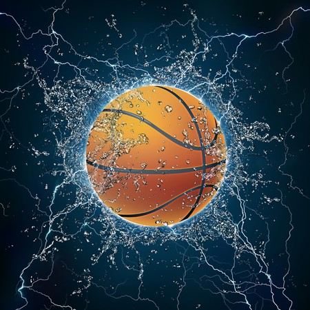 Basketball Ball on Water. 2D Graphics. Computer Design. Stock Photo
