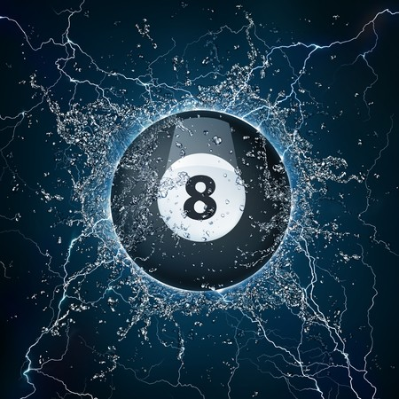 eight ball: Pool Billiards Ball in Water. Computer Graphics. Stock Photo