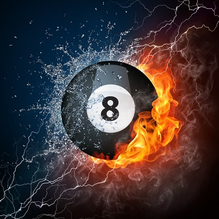 eight ball: Pool Billiards Ball in Fire & Water. Computer Graphics.